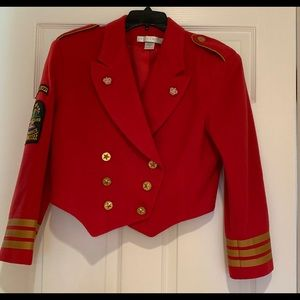 Red Military Style Crop Jacket Size Small